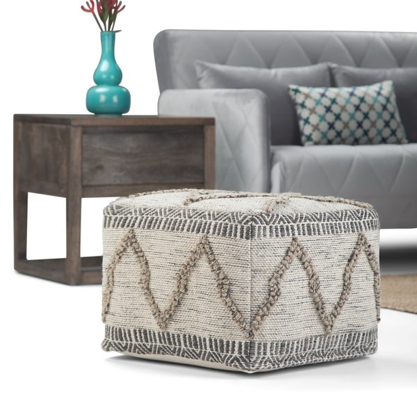 WYNDENHALL Tasneem Contemporary Square Pouf, Natural Handloom Woven Pattern. Opens flyout.