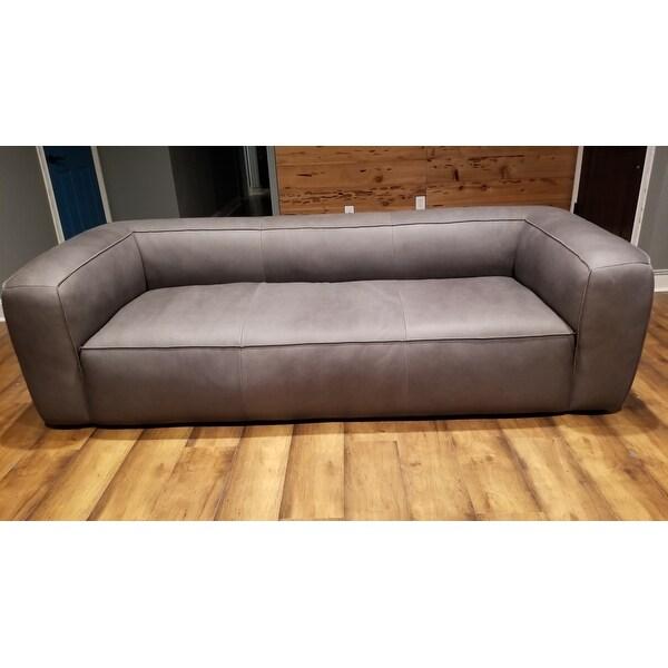 Stones Stripes Diva Italian Leather Sofa Utah Smoke Grey Free Shipping Today 16151000