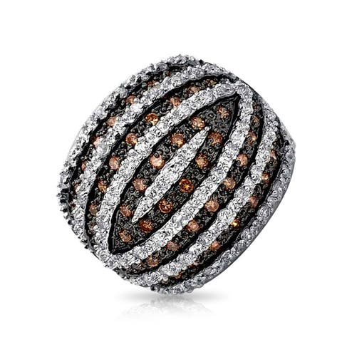 Tri Color CZ Banded Dome Pave Cocktail Party Statement Ring Cubic Zirconia Rhodium Plated