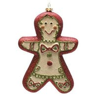 "6"" Merry & Bright Red, White and Green Glittered Shatterproof Gingerbread Boy Christmas Ornament - RED"