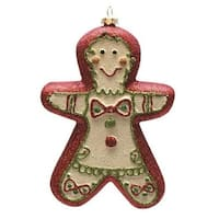 "6"" Merry & Bright Red  White and Green Glittered Shatterproof Gingerbread Boy Christmas Ornament"