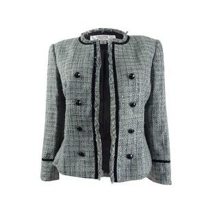 Link to Tahari ASL Women's Round-Neck Fringe-Trim Jacket - Metallic Grey Similar Items in Suits & Suit Separates