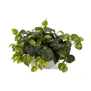 Nearly Natural Pothos with White Wash Planter - Silk Plant Green