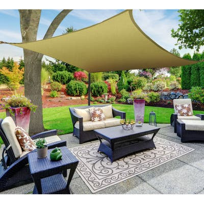 Boen Square Sun Shade Sail Canopy Awning UV Block for Outdoor Patio Garden and Backyard - Beige - 18'x18'
