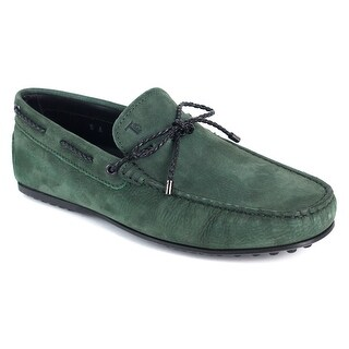 Tods Mens Green Leather Gommini Driving Loafers