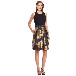 Carmen Marc Valvo Beaded Waist Floral Print Pleated Sleeveless Cocktail Party Dress - 16