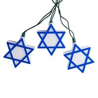 Set of 10 Blue and White Hanukkah Star of David Novelty Christmas Lights - Green Wire