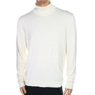 Alfani NEW White Ivory Mens Size XL Turtleneck Ribbed-Knit Sweater