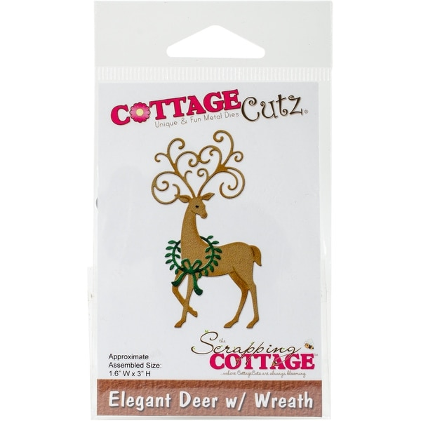 "CottageCutz Die-Deer W/Wreath, 1.6""X3"""