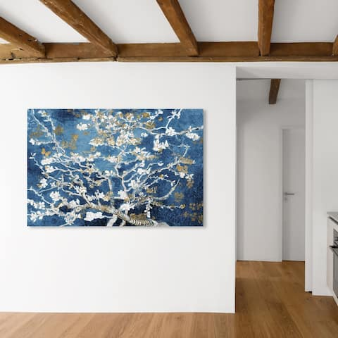 Oliver Gal 'Van Gogh in Butterfly Blossom Dreams' Classic and Figurative Wall Art Canvas Print Classic - Blue, Gold
