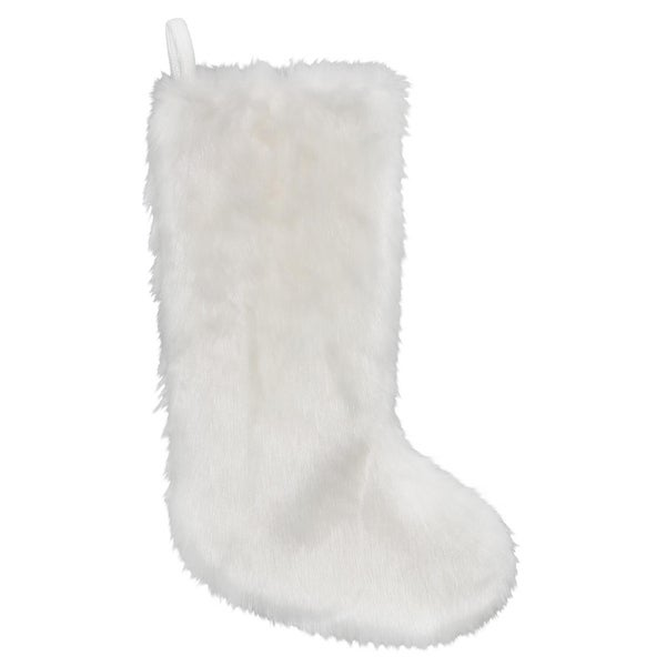 "19"" White Faux Fur Slimline Christmas Stocking Hanging Decoration"