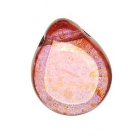 Czech Glass Beads Flat Pear Teardrops - 16x12mm 'Rose / Gold Topaz Luster' (12)