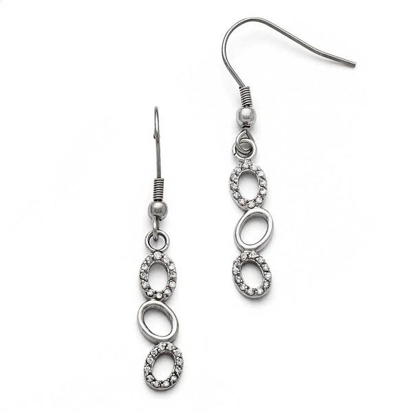 Chisel Stainless Steel Polished CZ Shepherd Hook Earrings