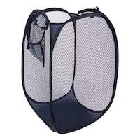 Unique Bargains Hand Strap Meshy Foldable Lingerie Clothes Storage Laundry Baskets Steel Blue