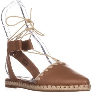 Nine West Unah Pointed Toe Flat Lace Up Sandals, Dark Natural