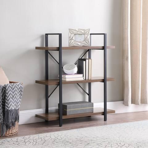 BELLEZE Bookshelf Open Wide Office Etagere Wood & Metal Bookcases