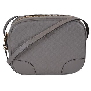 """Gucci 449413 Grey Leather Micro GG Guccissima BREE Crossbody Purse Bag - 8.5"""" x 7"""" x 4"""""""