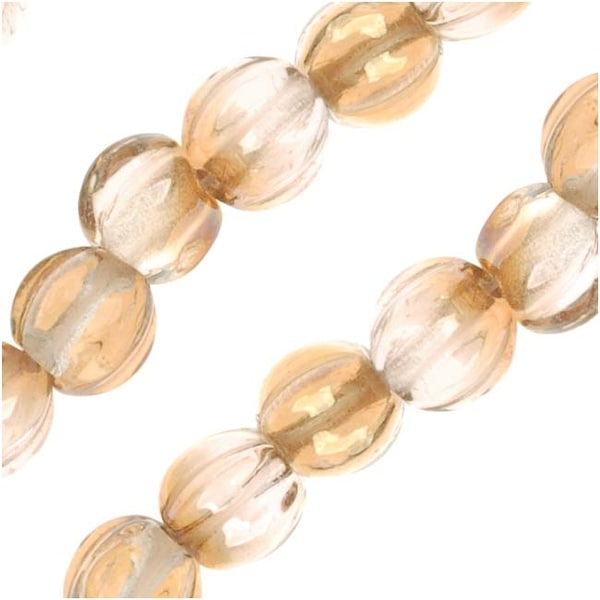 Czech Pressed Glass - Round Melon Beads 5mm Diameter 'Crystal Celsian' (50)