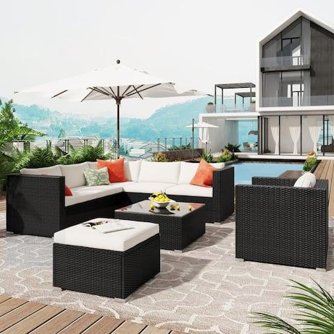 8 Piece Patio Wicker Corner Sofa with Cushions, Ottoman & Coffee Table