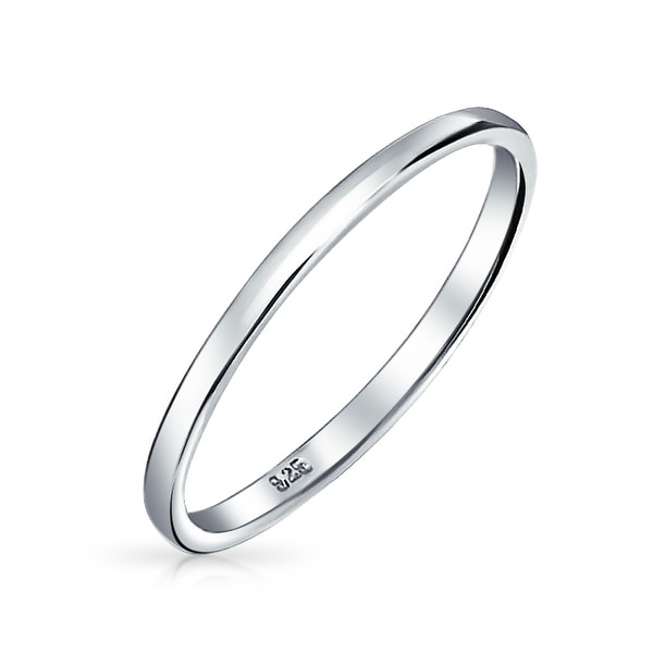 cbf23264c09af Shop Simple Minimalist Thin Stackable 925 Sterling Silver Couples ...