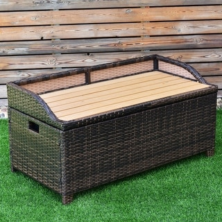 Costway 50 Gallon Storage Bench Container Box Rattan Wicker Chest Organizer Seat & Buy Outdoor Benches Online at Overstock.com   Our Best Patio ...