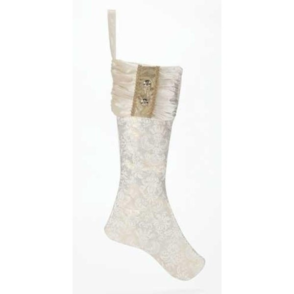 """26"""" Elegant Off White & Gold Brocade Print Christmas Stocking with Ruched Cuff"""