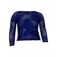 INC International Concepts Women's Open Knit Sweater (L, Goddess Blue) - goddess blue - l