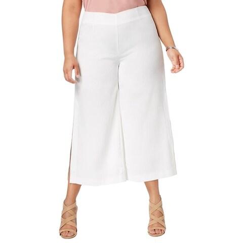 NY Collection Womens Plus Wide Leg Pants Split Hem Mid-Rise