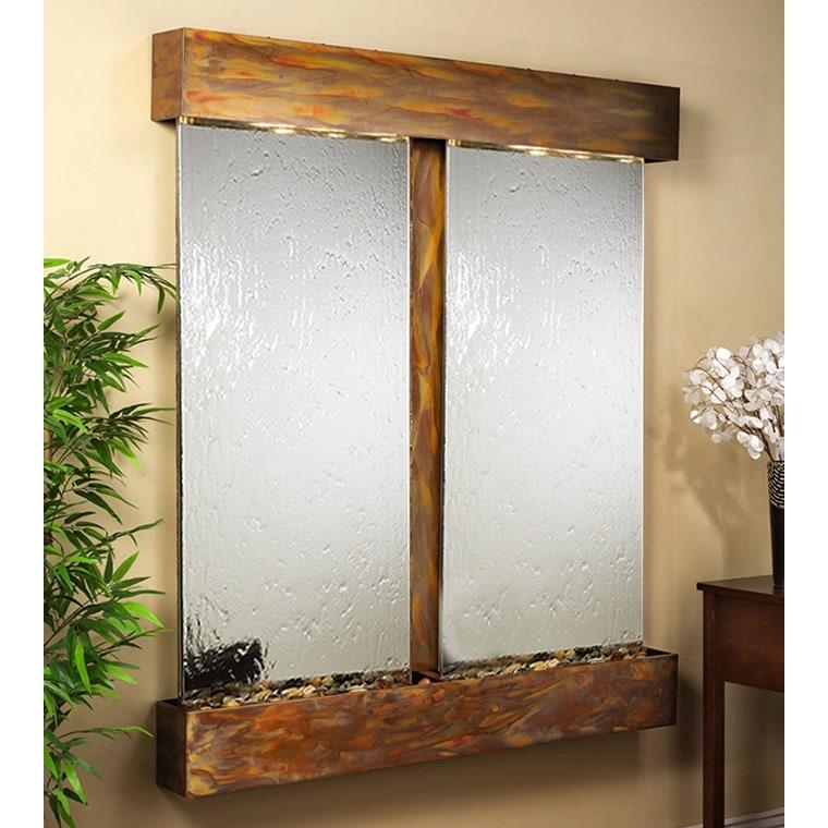 Adagio Cottonwood Falls Wall Fountain Silver Mirror Rustic Copper - CFR1040 - Thumbnail 0