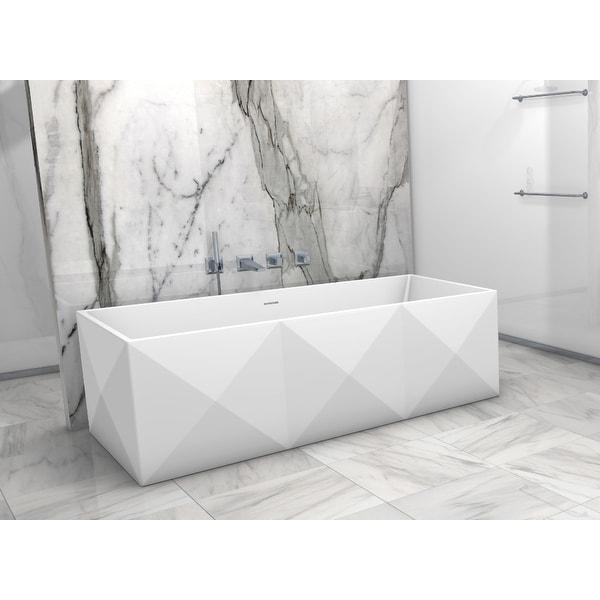 "Clarke CA6935FS Diamond 70"" Solid Surface Soaking Bathtub for Freestanding Installations with Center Drain - Matte"