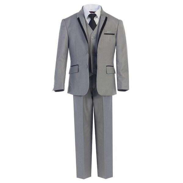 Boys Gray Tie Vest Pants 5 Pcs Wedding Special Occasion Tuxedo Suit