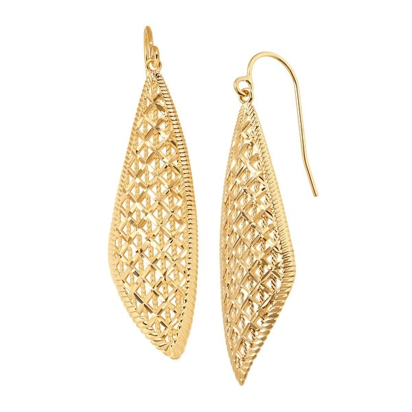 Just Gold Diamond-Cut Teardrop Earrings in 14K Gold - YELLOW