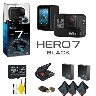GoPro HERO7 Black Action Camera With Extra Battery, External Charger, 64GB Memory Card, Case And More - Extra Battery Bundle