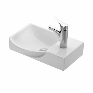 "WS Bath Collections Minimal 4079  Minimal 17-7/10"" Wall Mounted/Vessel Bathroom Sink - White"