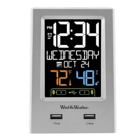 La Crosse Technology WW85760 Desktop Dual USB Charging Station with Alarm and Nap timer