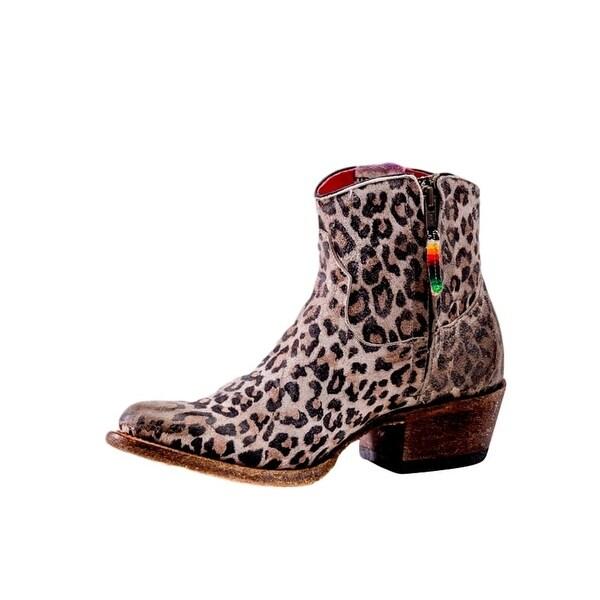 Macie Bean Western Boots Womens Gato Grande Zip Greased Leopard