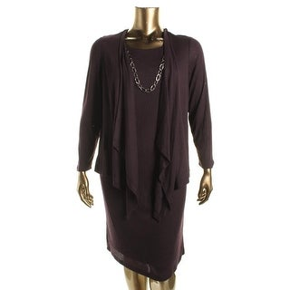 Jessica Howard Womens Plus Ribbed Knit 2Fer Wear to Work Dress