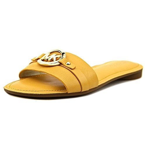 MICHAEL Michael Kors Womens Molly Slide Leather Open Toe Casual Slide Sandals