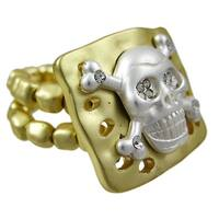 Rhinestone Skull & Crossbones Goldtone Stretch Ring