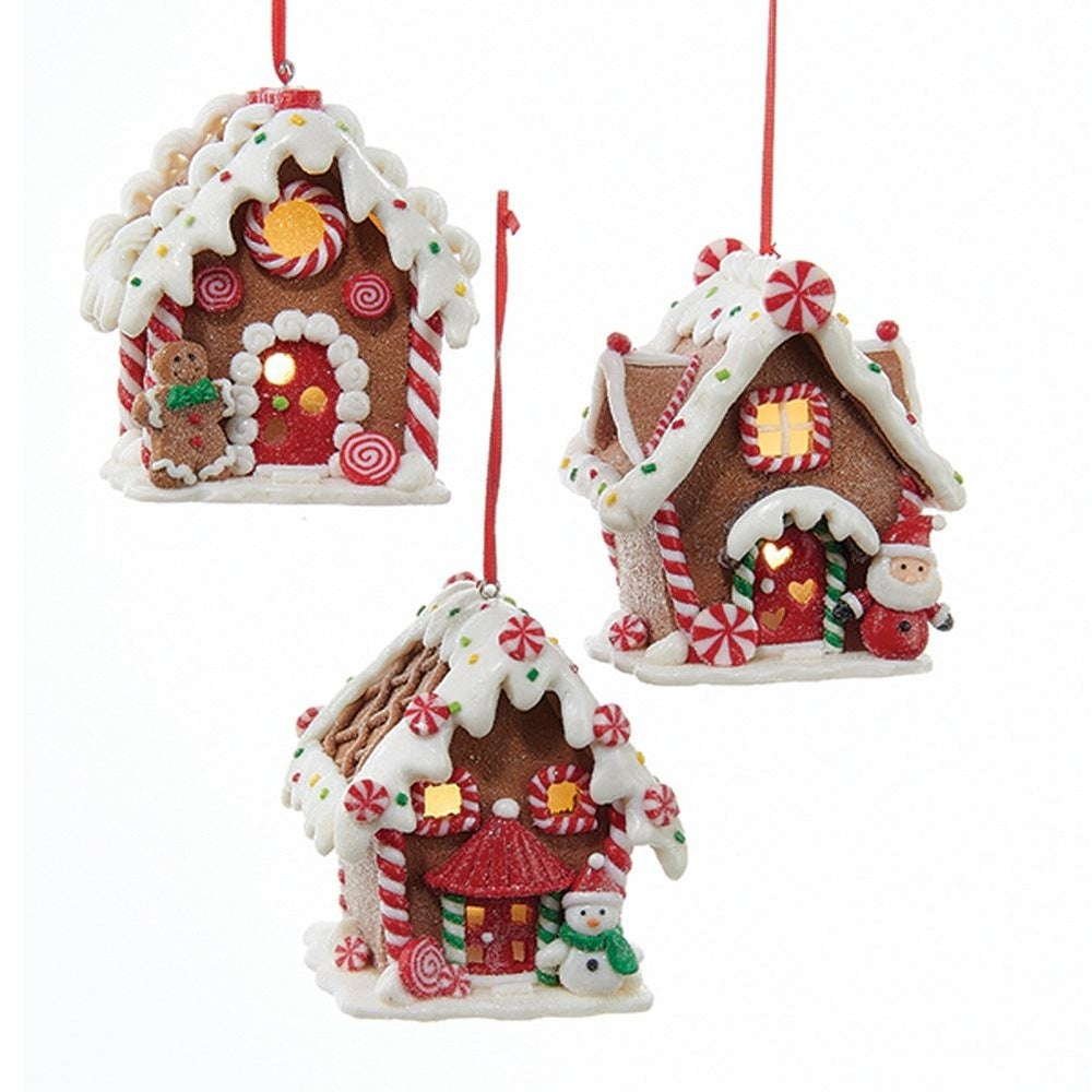 Pack Of 6 Led Lighted Gingerbread House Christmas Hanging Ornaments 3 5