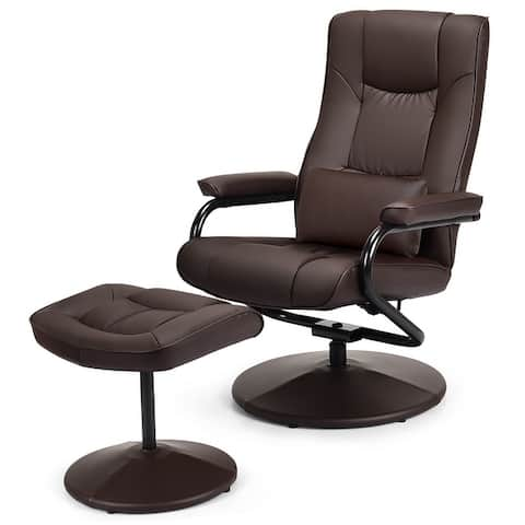 Recliner Chair 360 Degree Swivel PU Leather Chair with Footrest