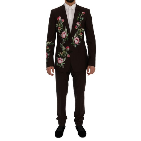 Dolce & Gabbana Dolce & Gabbana Bordeaux Wool Crystal Bee Floral Suit - it48-m