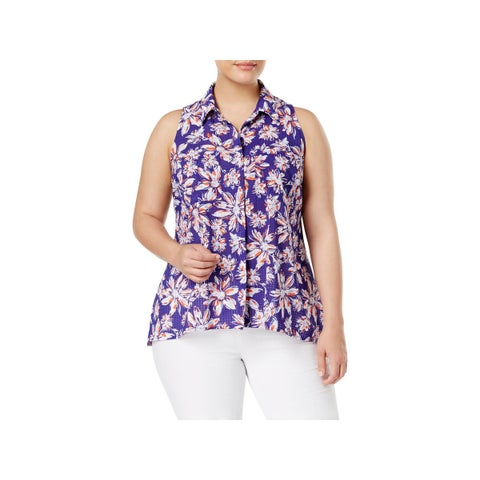 NY Collection Womens Plus Blouse Floral Print Cap Sleeves