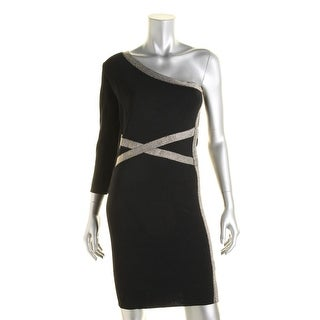 XOXO Womens Juniors Clubwear Dress Metallic One Shoulder - XS