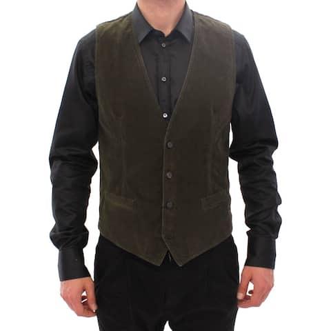 Green Corduroys Single Breasted Men's Vest - IT48 M