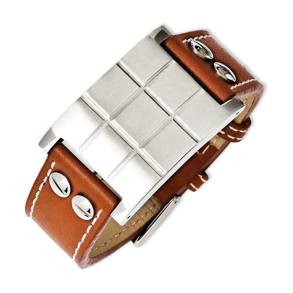 Chisel Stainless Steel Brown Leather Adjustable Buckle Bracelet
