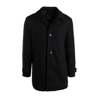 London Fog Mens Wool Blend Long Sleeves Pea Coat - L