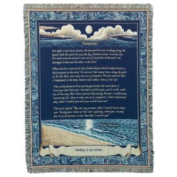 "Footprints in the Sand Poem & Prayer Tapestry Throw Blanket 50"" x 70"""