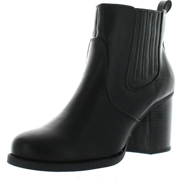 Soda Women's Indeed Western Elastic Side Stacked Heel Ankle Boot