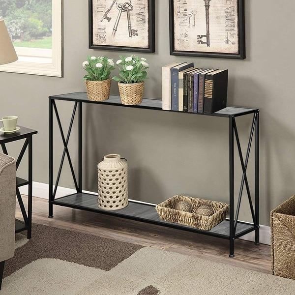 Porch & Den Spreadborough Black/ Grey 1-shelf X-design Console Table. Opens flyout.